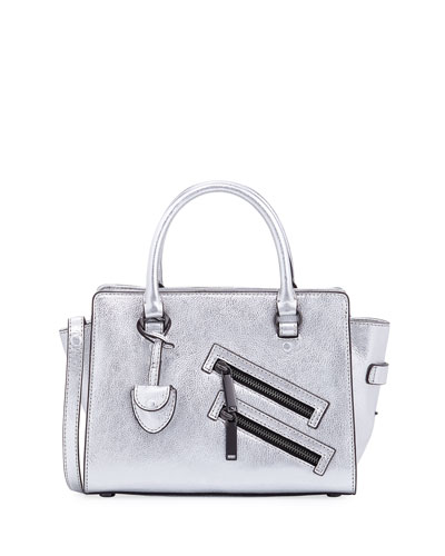 Jamie Small Metallic Satchel Bag, Silver