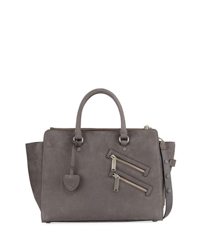 Jamie Large Nubuck Leather Satchel Bag