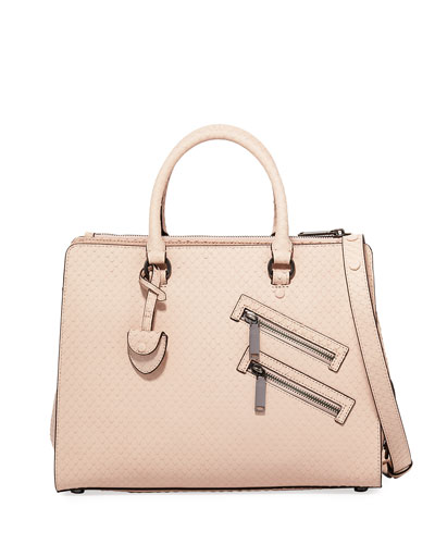 Jamie Large Snake-Embossed Satchel Bag