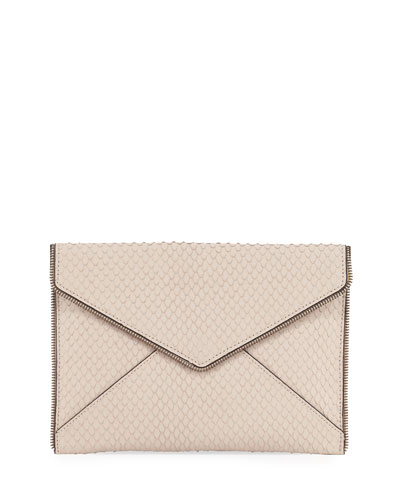 Leo Snake-Embossed Clutch Bag