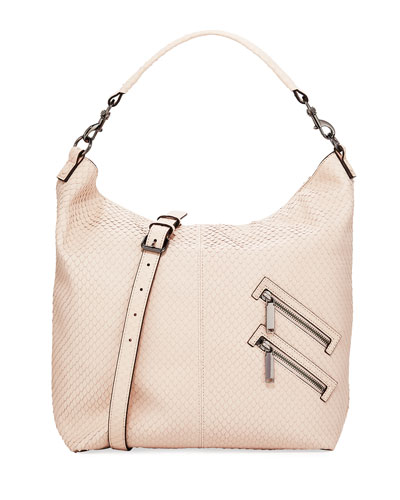 Jamie Convertible Snake-Embossed Hobo Bag