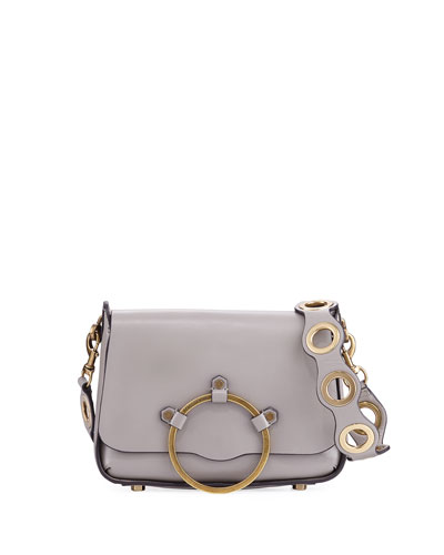 Ring Leather Shoulder Bag, Taupe