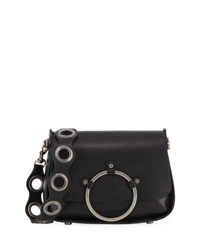 Ring Smooth Leather Shoulder Bag, Black