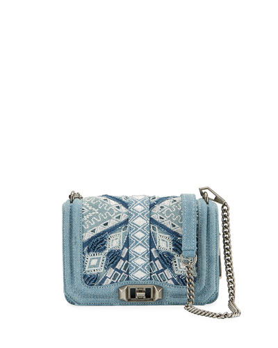 Love Small Embroidered Denim Crossbody Bag