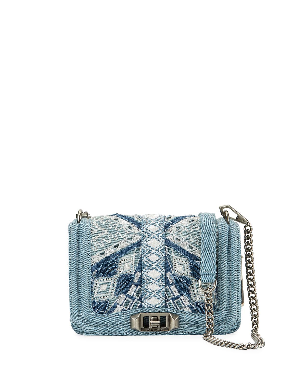 Love Small Embroidered Denim Crossbody Bag