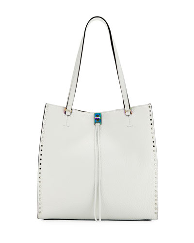 Darren Studded Tall Tote Bag, White