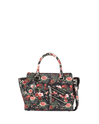 Jamie Small Floral Leather Satchel Bag