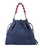 Medium Pebbled Drawstring Crossbody Bag