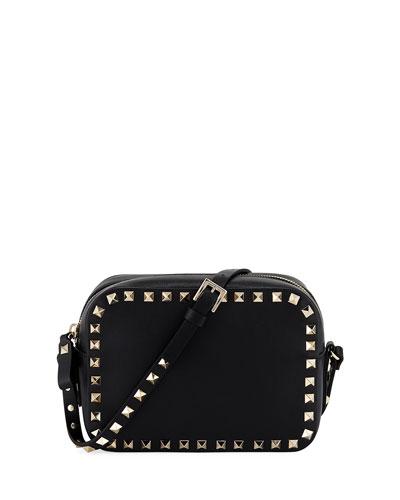 Small Rectangle Rockstud Camera Bag, Black