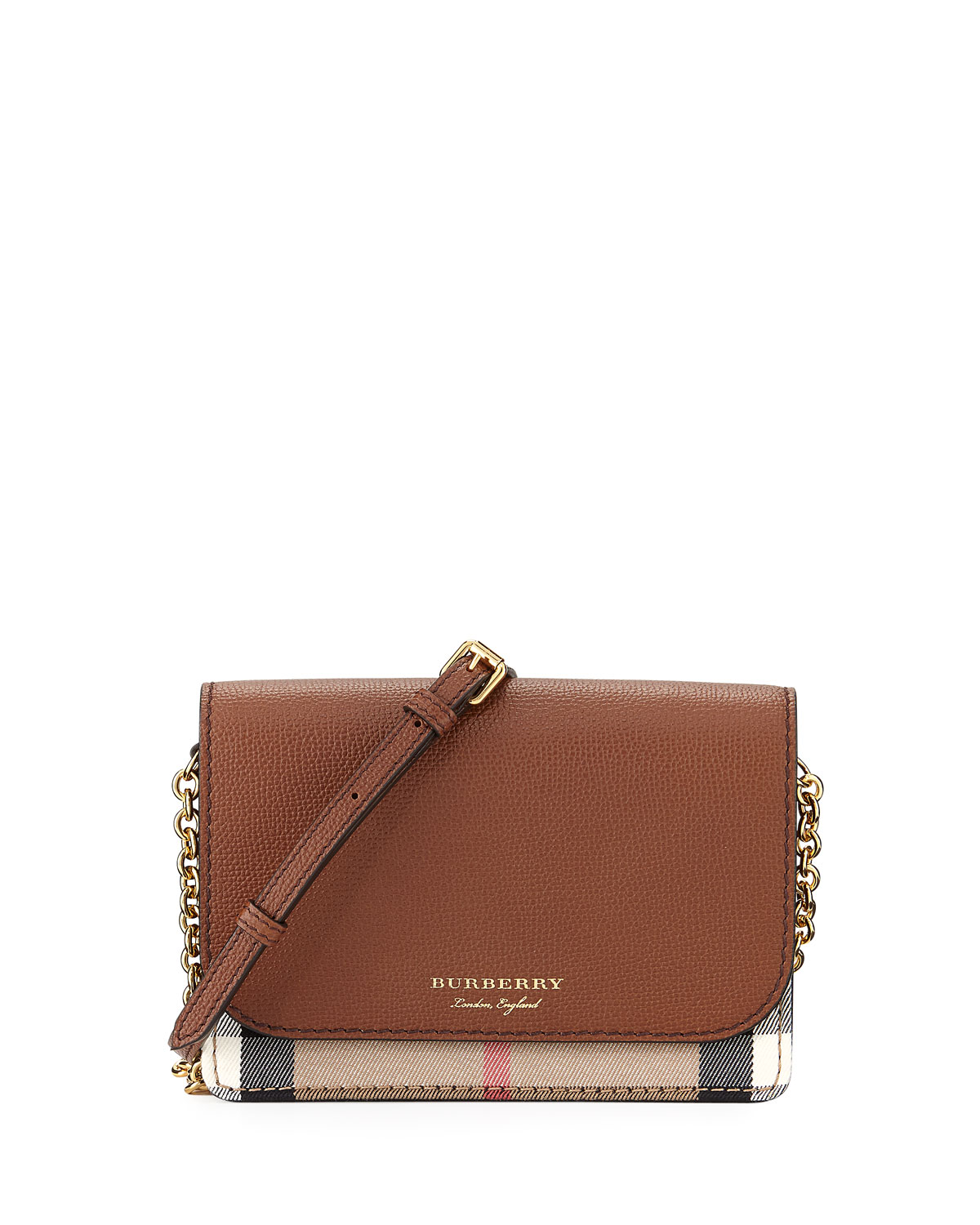 Hampshire Check/Leather Wallet On A Chain, Tan