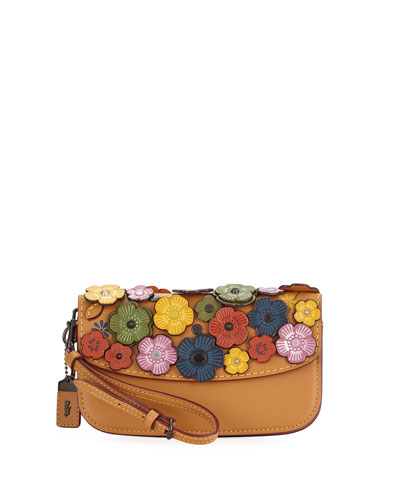Small Tea Rose Wristlet Clutch Bag