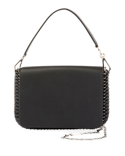 Iconic Shoulder Bag w/Handle in Sleek Calf, Black