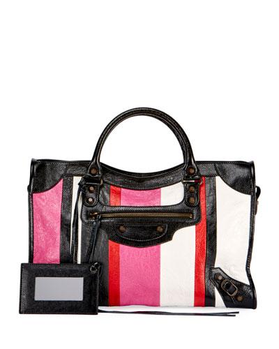 Classic City AJ Striped Leather Satchel Bag