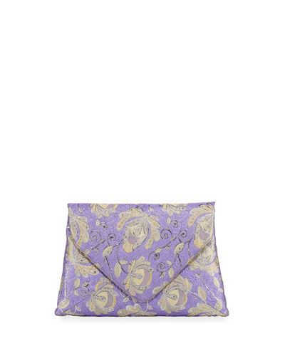 Jacquard-Embroidered Clutch Bag