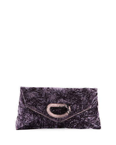 East-West Crushed Velvet Clutch Bag
