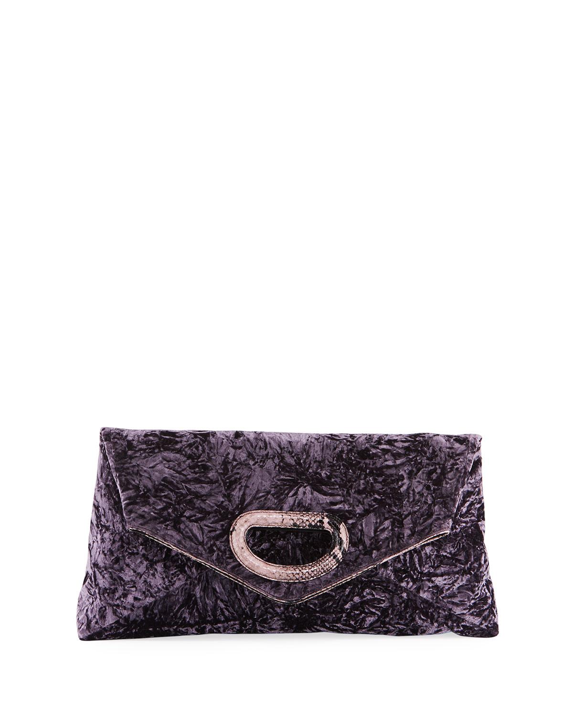 East-West Crushed Velvet Clutch Bag