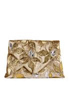 Metallic Overlay Printed Clutch Bag