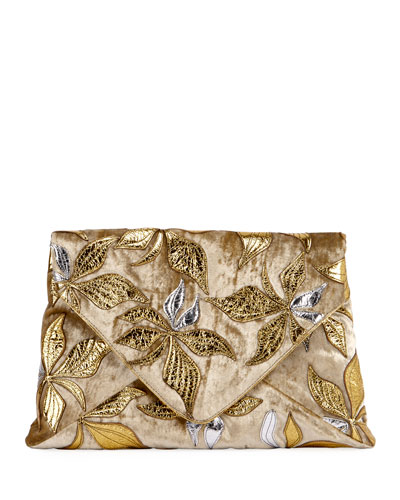 Metallic Overlay Printed Clutch Bag