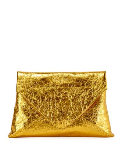 Metallic Leather Clutch Bag