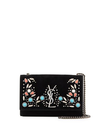 Kate Monogram Ysl Small Stone-Studded Suede Shoulder Bag, Black Pattern