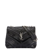 Loulou Monogram Small Flap Black Studded Chain Shoulder Bag