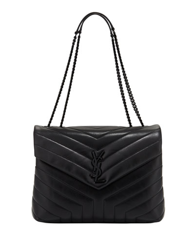 Loulou Monogram Medium Chain Bag with Black Hardware