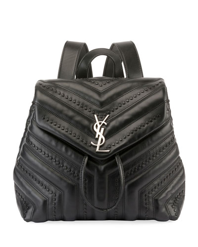 Loulou Monogram Small Quilted Black Studded Leather Backpack