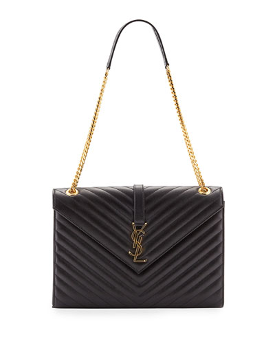 V-Flap Large Monogram YSL Envelope Chain Shoulder Bag