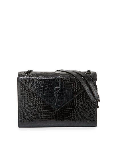 Large V Flap Shiny Crocodile Shoulder Bag