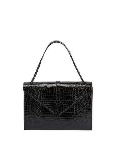 V Flap Medium Shiny Croc-Embossed Shoulder Bag