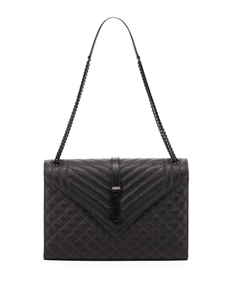 Saint Laurent Large Tri-Quilted Matelasse Grain de Poudre Flap Shoulder Bag, Black Hardware