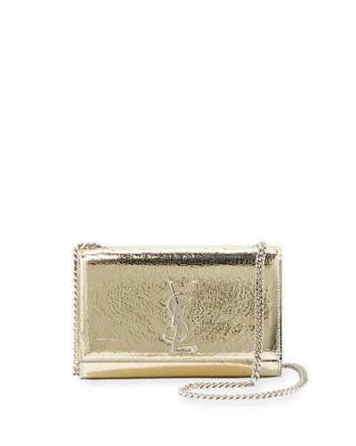 Kate Monogram YSL Small Crackled Metallic Leather Crossbody Bag - ...