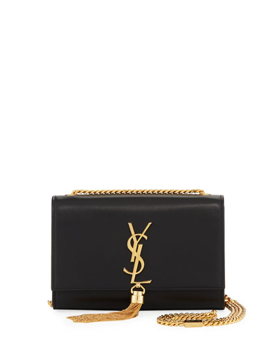 Kate Monogram Smooth Leather Tassel Small Shoulder Bag with Golden Hardware