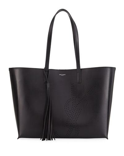 Large Perforated Leather Shopping Tote Bag