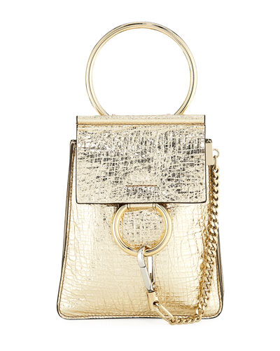 Faye Small Metallic Leather Bracelet Bag