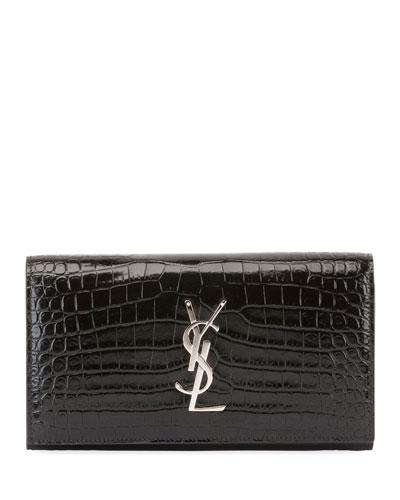 Monogram Large Croco Flap Wallet