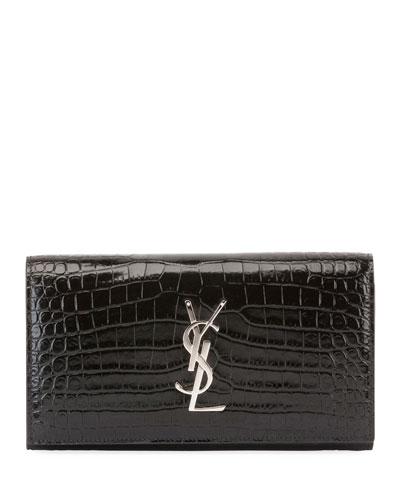 Monogram Large Croco Flap Wallet