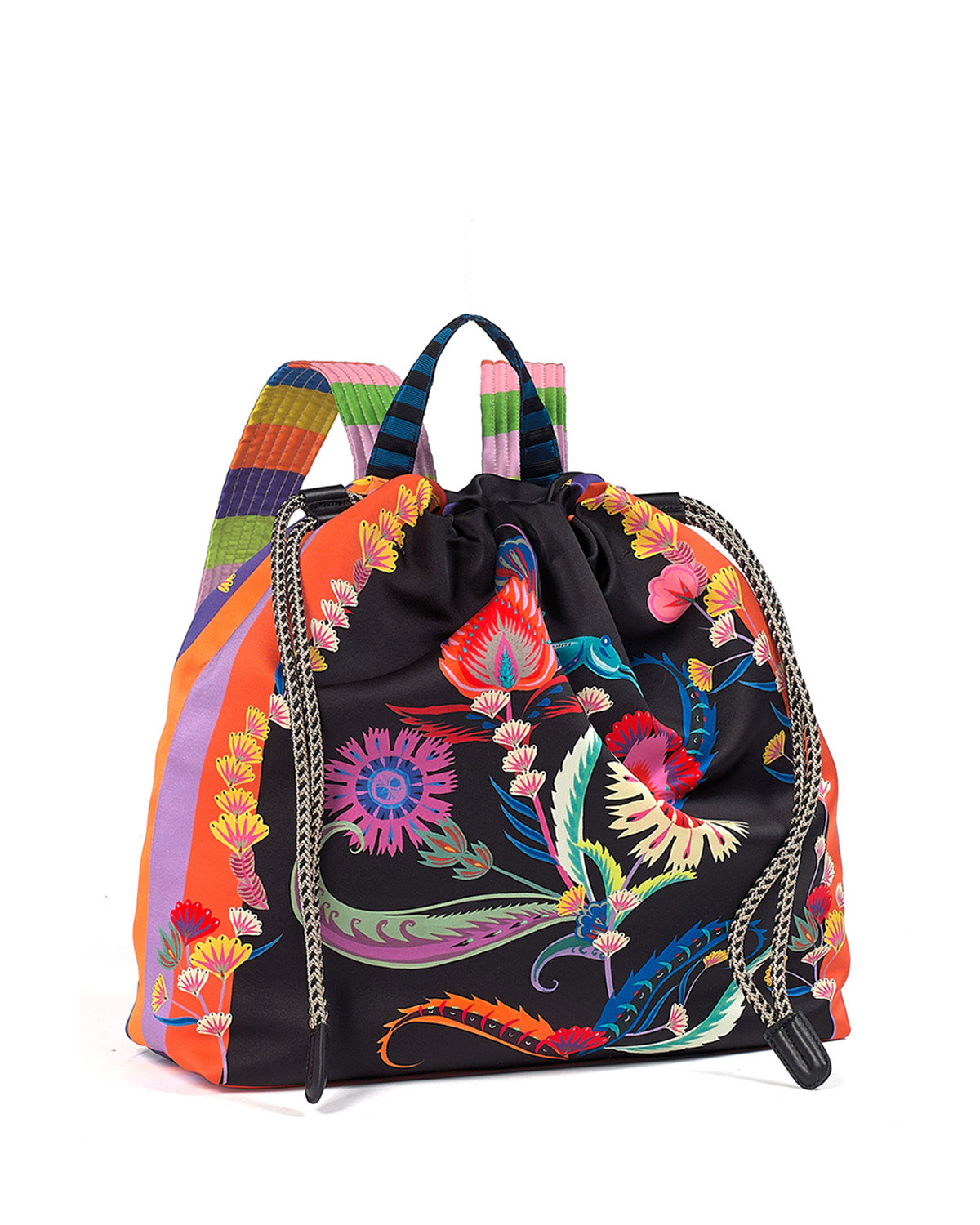 Multicolor Printed Drawstring Backpack