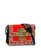 Paisley-Print Leather Crossbody Bag, Red