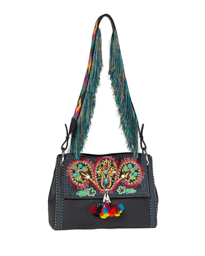 Multi-Embellished Leather Shoulder Bag, Black