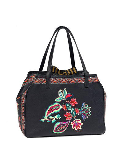 Floral-Print Pebbled Satchel Bag, Black