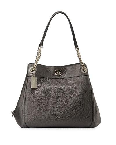 Edie Metallic Leather Turn-Lock Shoulder Bag