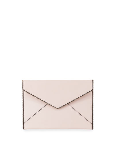 Leo Saffiano Leather Clutch Bag, Nude
