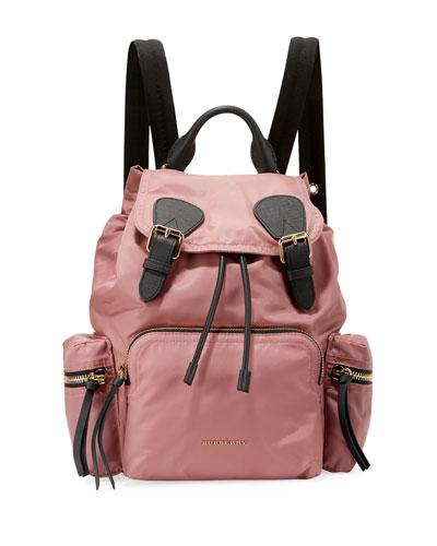 Medium Rucksack Nylon Backpack, Mauve Pink