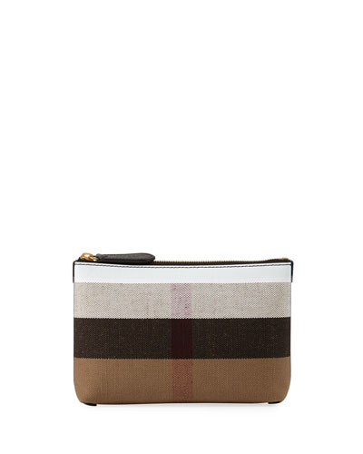 Duncan Medium Canvas Check Clutch Bag, Black/White