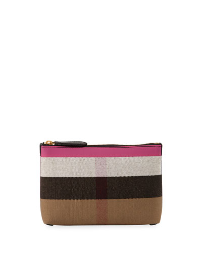 Duncan Medium Canvas Check Clutch Bag, Black/Pink