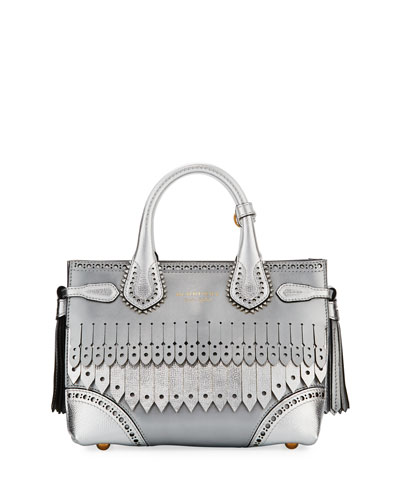 Banner Small Broguing Fringe Metallic Tote Bag