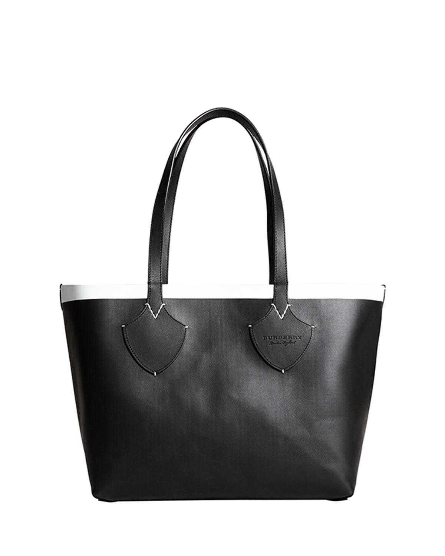 Medium Reversible Bonded Check/Leather Shoulder Tote Bag