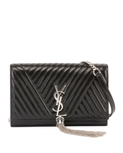 Kate Monogram Shiny Quilted Wallet on Chain