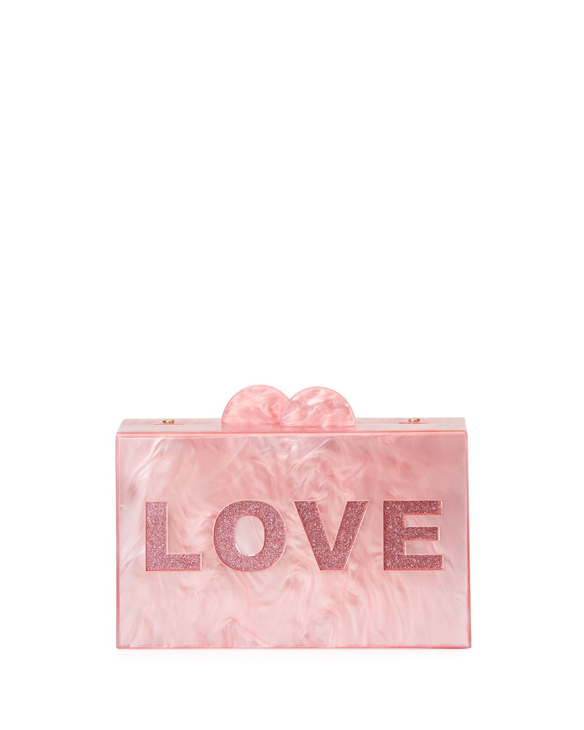 Girls' Like/Love Glittered Acrylic Box Clutch Bag